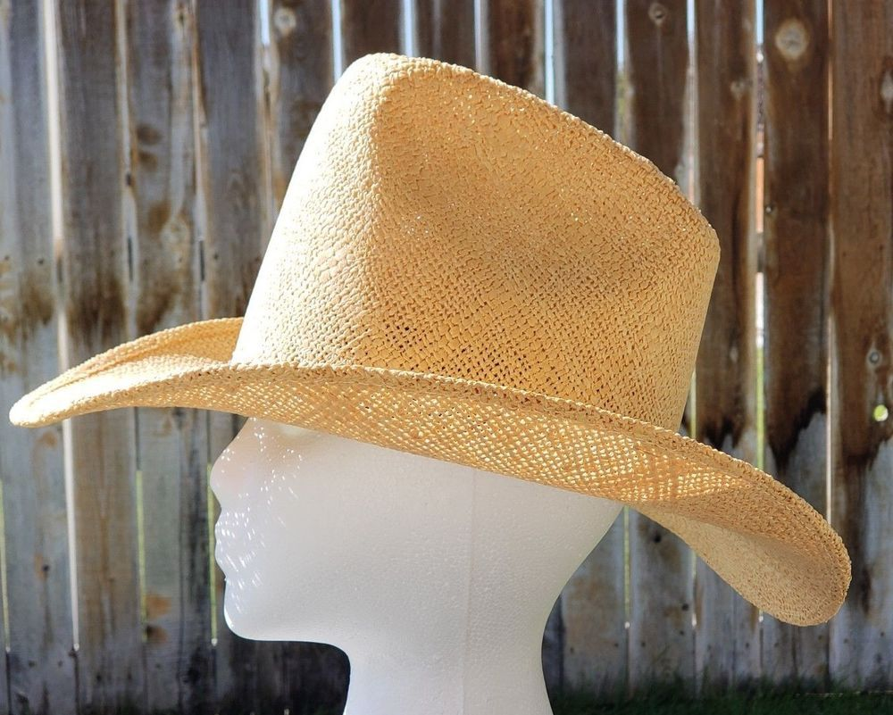 c908758e1 VTG 80s Artel Size 7 Straw Cowboy Hat Western Natural USA Tall Crown ...