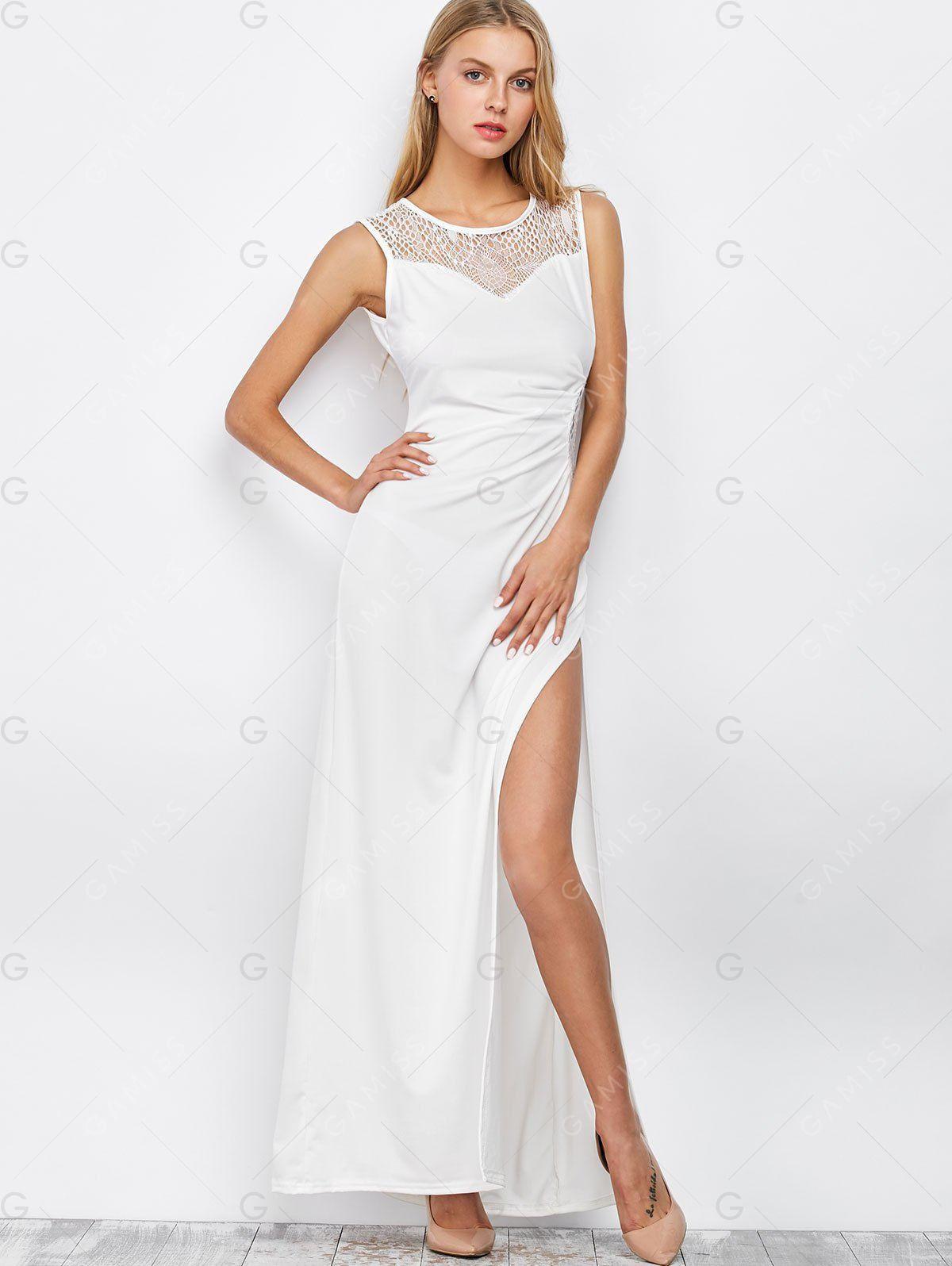 Maxi dresses white high slit lace trim longline dress gamiss