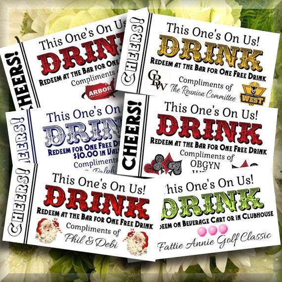 Customized Drink Tickets For Party Wedding Printable Bar By Idodiy