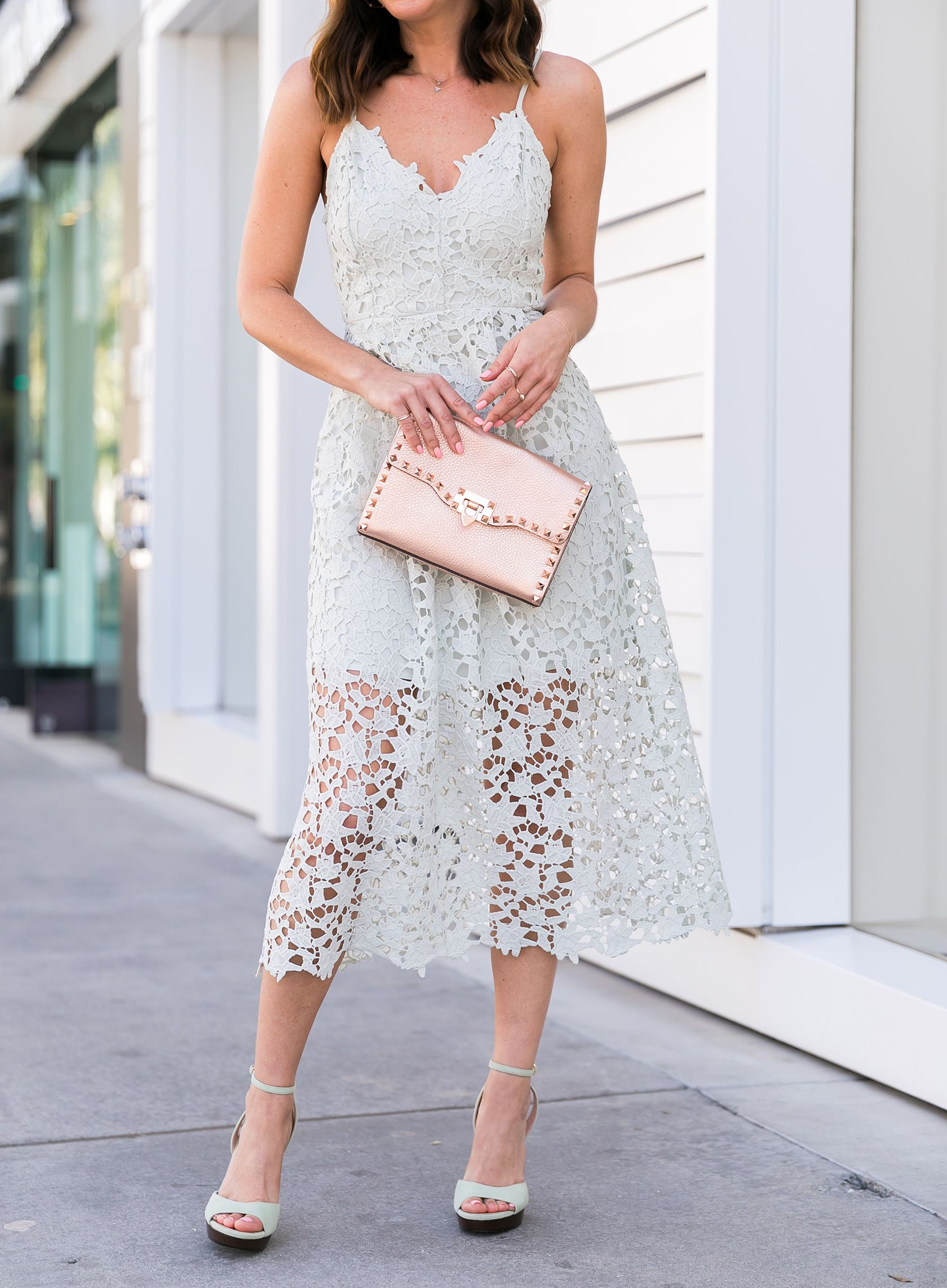 e28996380938 Sydne Style shows summer date night outfit ideas in astr lace midi dress   lace  mint  weddings  rosegold  valentino  pastels