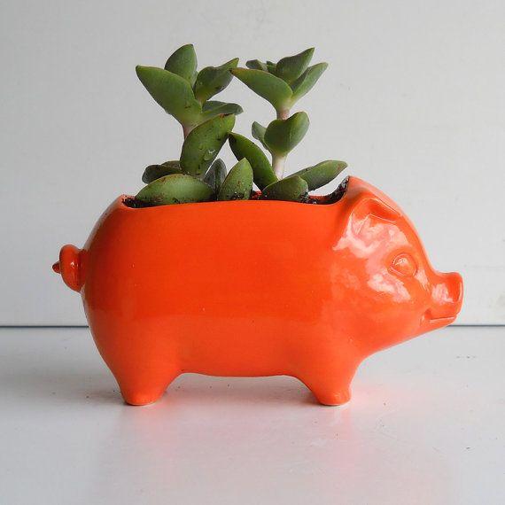 Pig Planter Ceramic 60s Mini Desk Pig Planter Vintage Design in Orange Succulent Planter