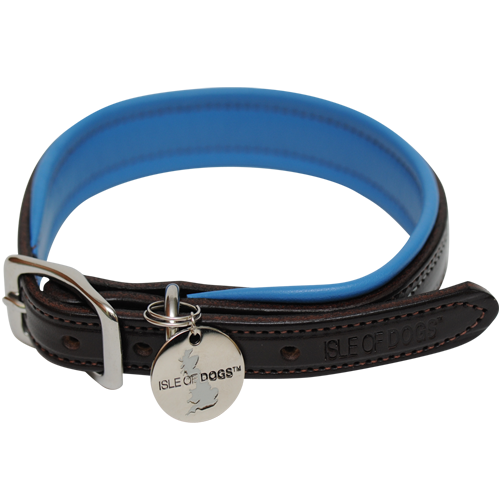 This luxurious collar is constructed with hand stitched English Bridle Leather, soft garment leather padding in our signature color, with stainless steel hardware.        Fit instructions: Measure your dog's neck with a flexible tape measure. The five buckle holes allow for 11/2 inches of adjustment up or down. Sizes listed are to the midpoint of the five buckle holes. Order one size up if your dog's neck size is between sizes.