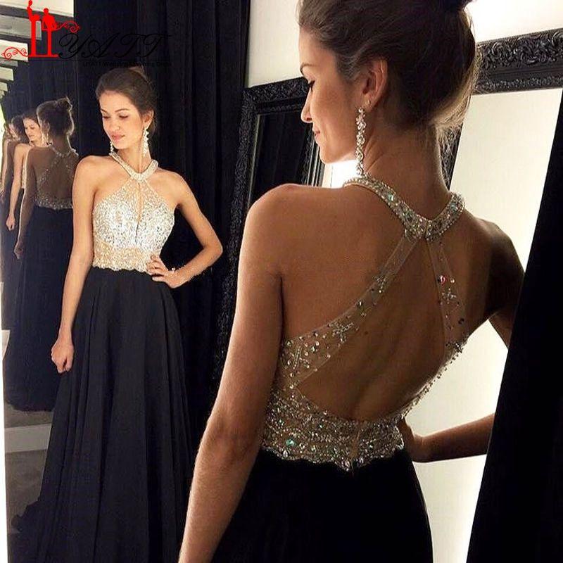 Luxury Crystal Prom Dresses Long Black Halter Neck Sexy Open Back ...