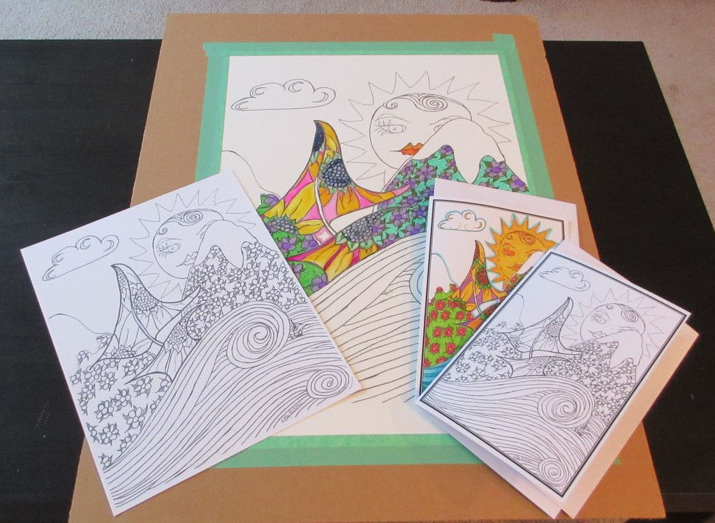 Color Your Own Large Art Print Greeting Card And Letter Size Coloring Package By PiskyArt On Etsy