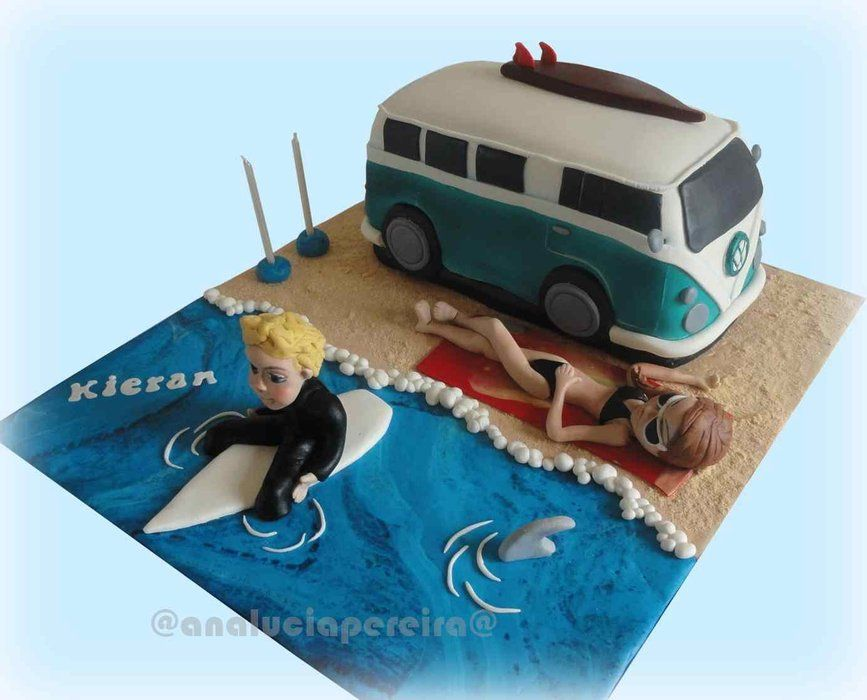 Surf Beach and Camper Cake with model in bikini and surfer ...