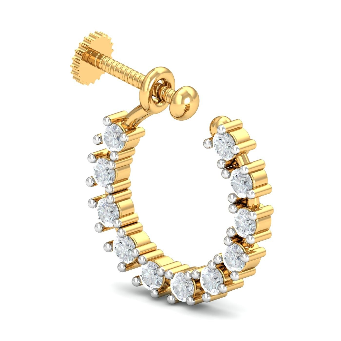 About nath nose ring mukku pudaka on pinterest jewellery gold nose - A Charming Nose Ring Nath Design With 11 Diamonds Forming A Cirlce On A Round Gold Frame It S For The Ones Who Are Yet To Get Their Nose Pierced And