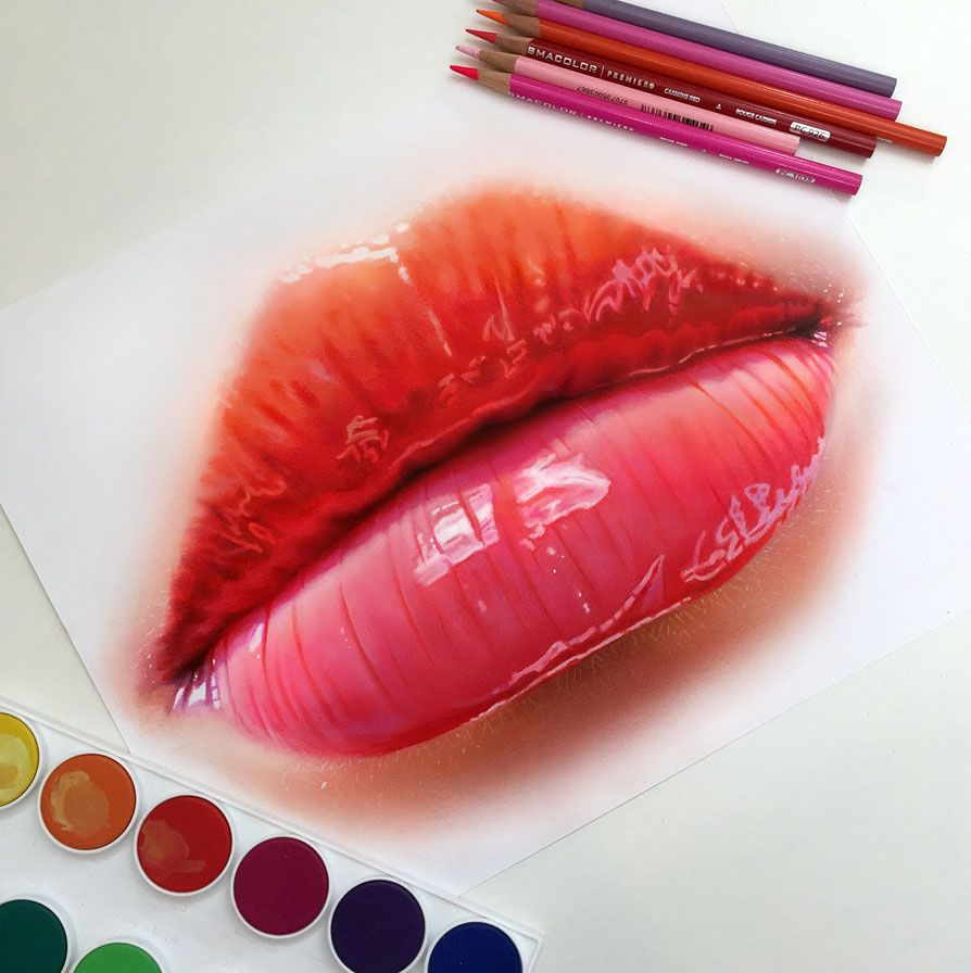 Lips Color Pencil Drawing By Morgan Davidson Realistic Pencil