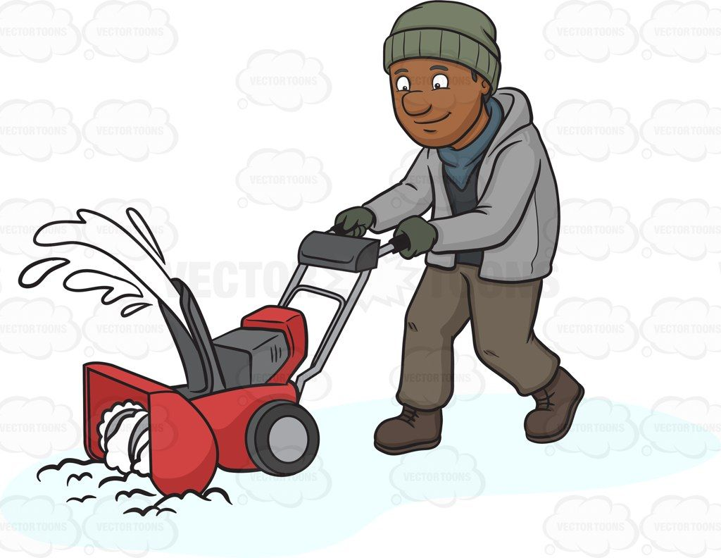 A Black Man Using A Snow Blower To Clean The Road