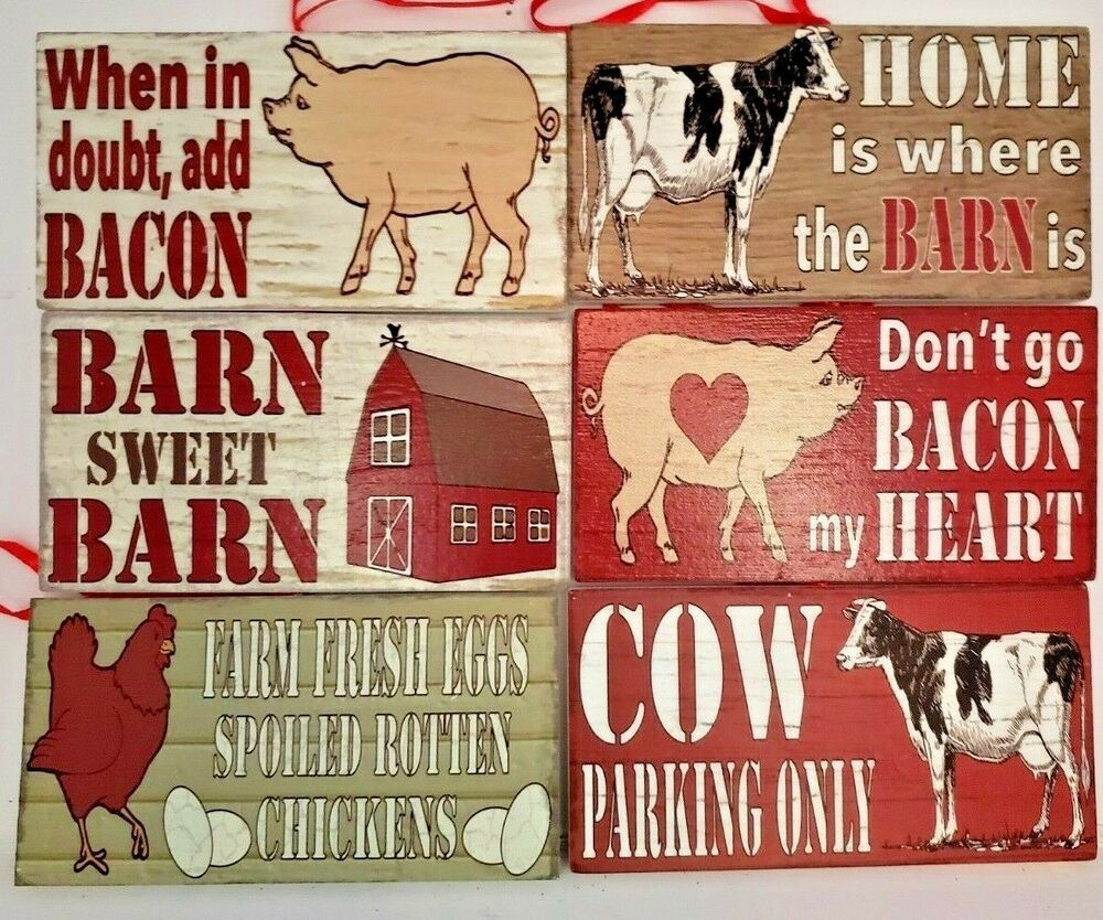 Details About Barn Animal Cow Pig Barn Chicken Funny Sayings Wood