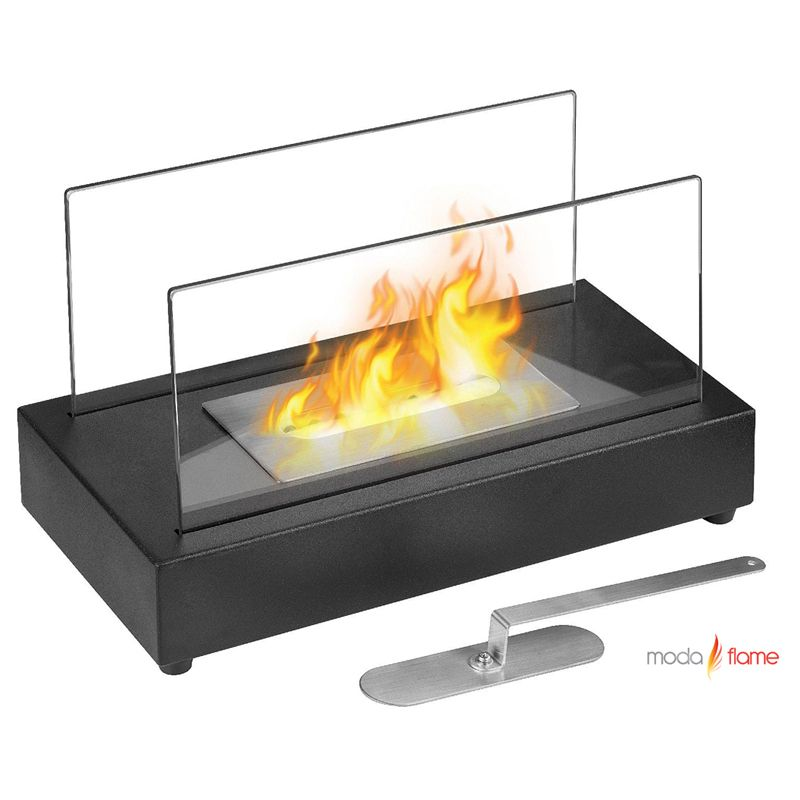 Moda Flame Vigo Table Top Ethanol Fireplace    The Vigo versatile modern ethanol fireplace has a sleek design with glass panels that allow for maximum fire visibility. Portable and can be used both indoor and outdoor. Features a simple way to add fire to