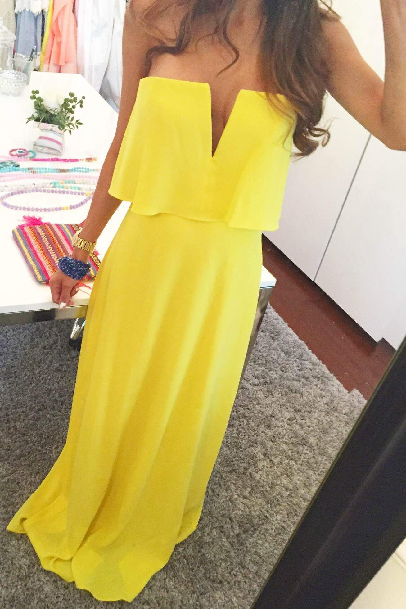 Blakley Strapless Yelow Maxi Dress With Deep V Neck