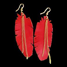 Punaiset nahkaiset sulkakorvikset