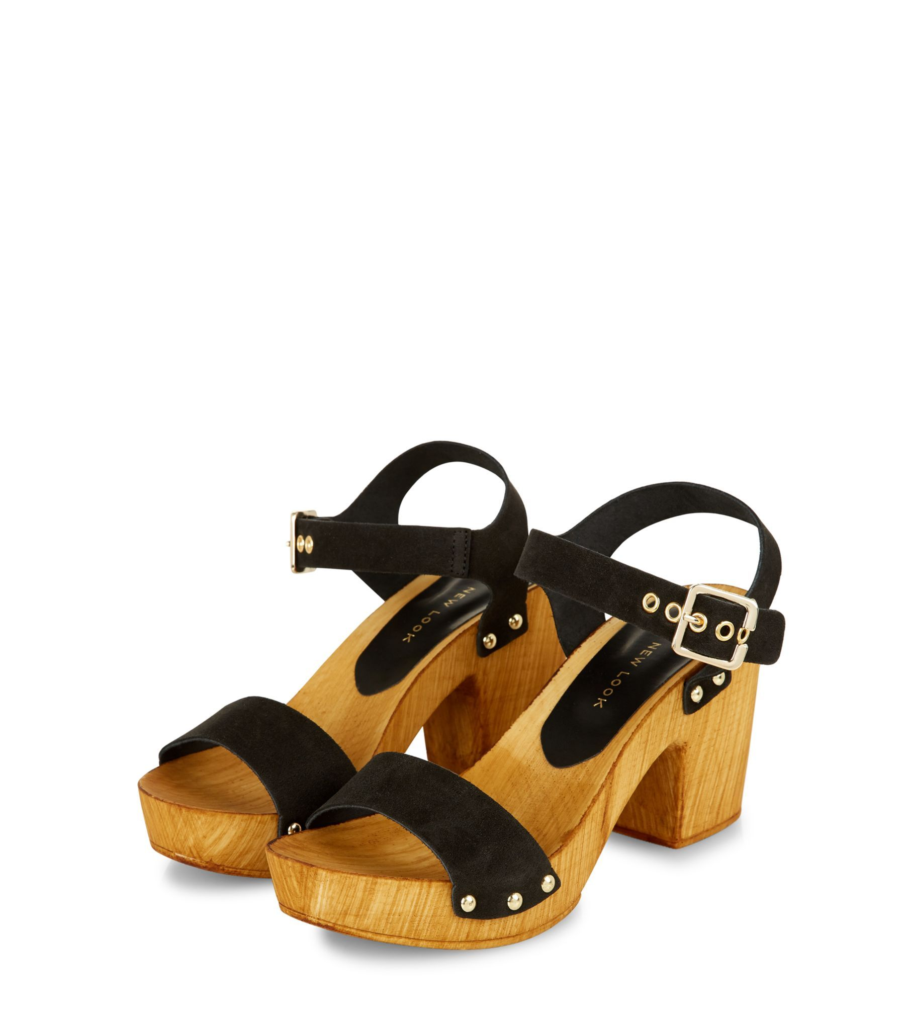 e04d49322 Black Leather Wooden Block Heel Sandals | MADE FOR A WOMEN/ECHO PARA ...
