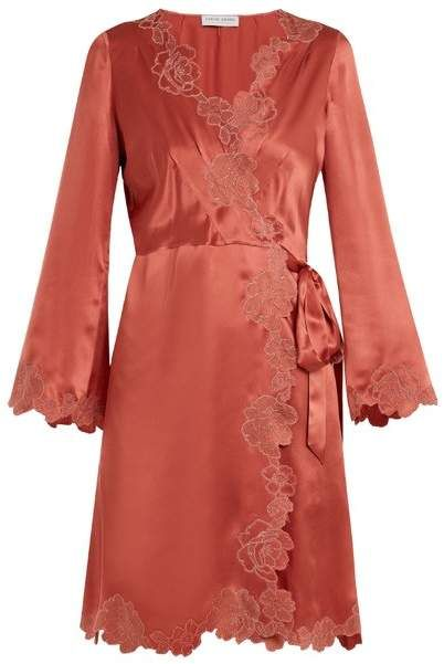 Lace Trimmed Silk Satin Robe - Womens - Dark Pink  hand embroidered allure 955e40f13