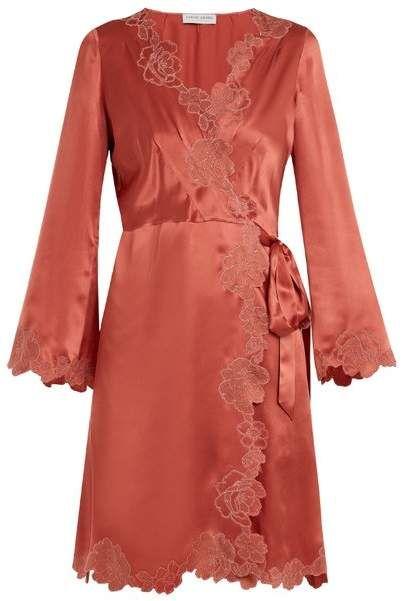 4cece9fa626 Lace Trimmed Silk Satin Robe - Womens - Dark Pink  hand embroidered allure