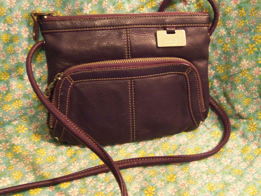 Tignanello Crossbody Bag With Organizer Purple Leather Compartments