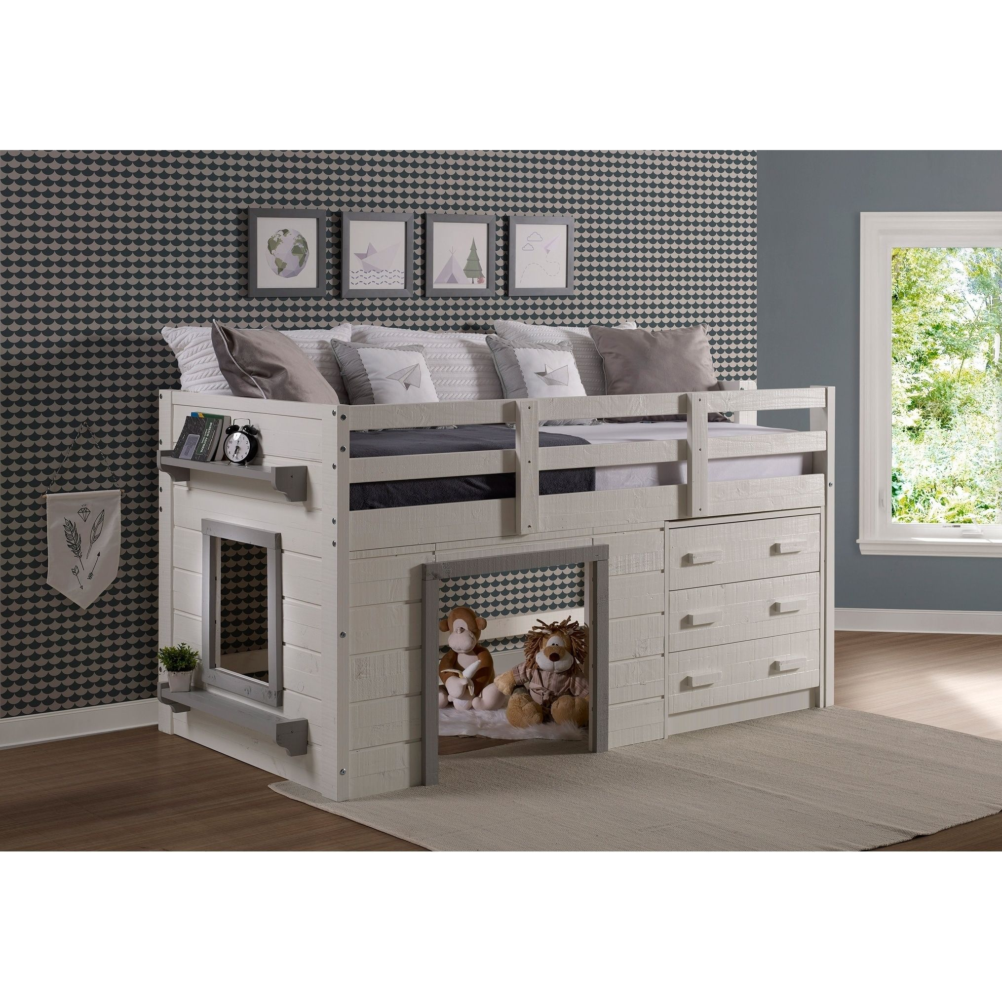 Sweet Dreams Low Loft in White and Grey Size Twin Low