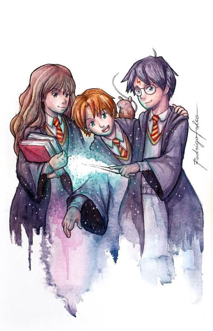 Excited to share the latest addition to my #etsy shop: Harry Potter, Hermione and Rony Fanart Watercolor Print #painting #watercolor #artwork #illustration #illustrationart