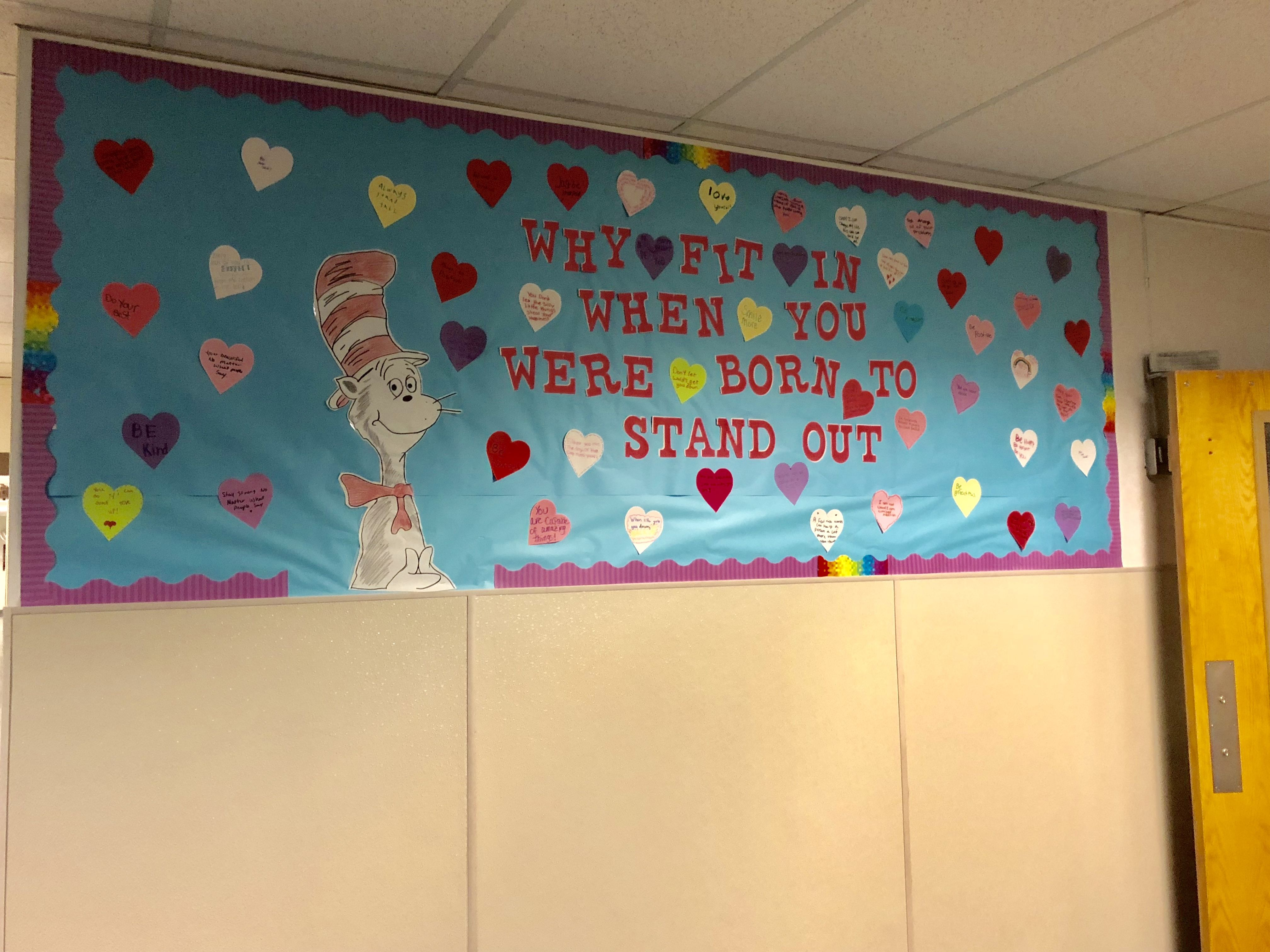 Dr.Seuss Bulletin Board with student written positive quotes/phrases ...