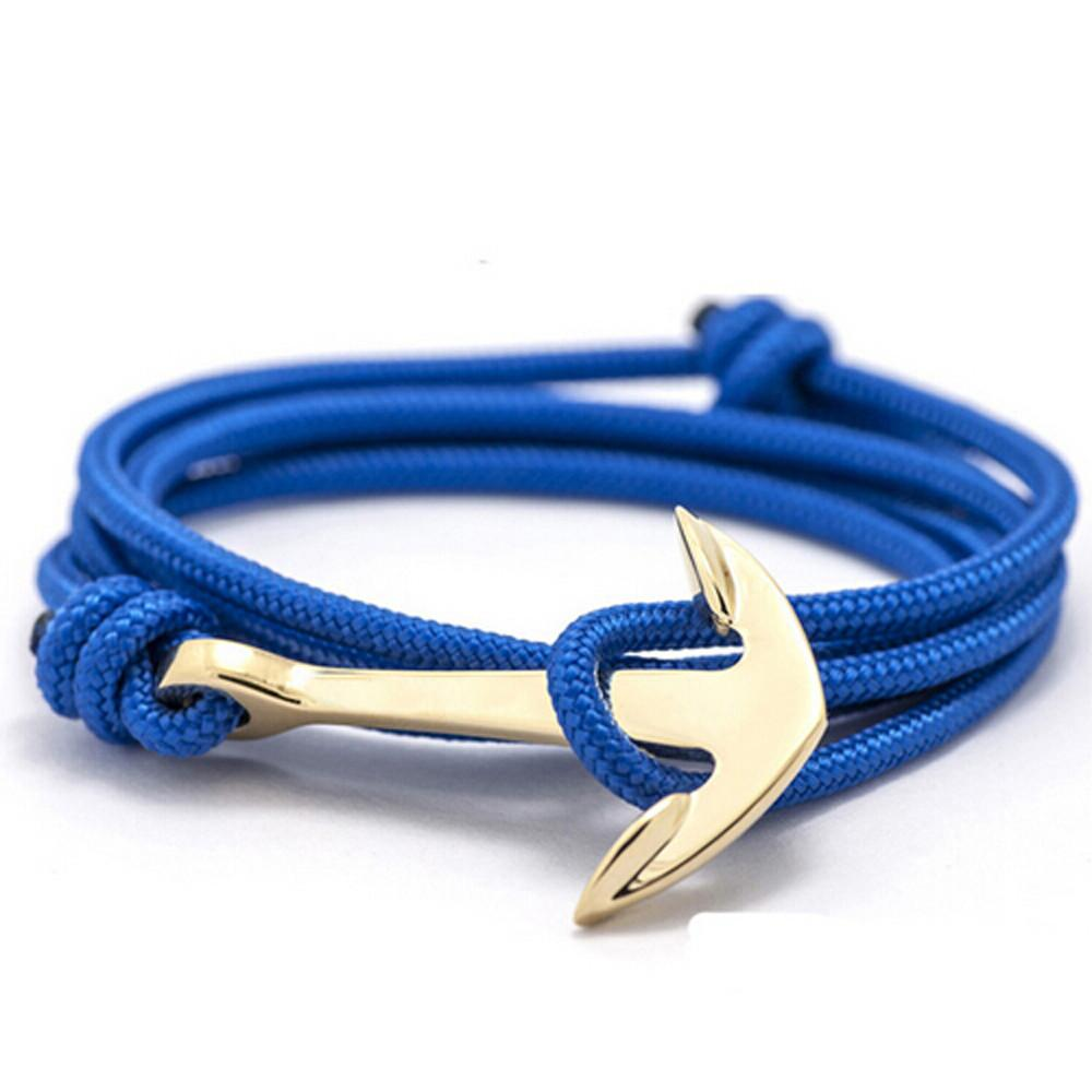 New rope anchor wristband bracelet handmade multilayer women leather