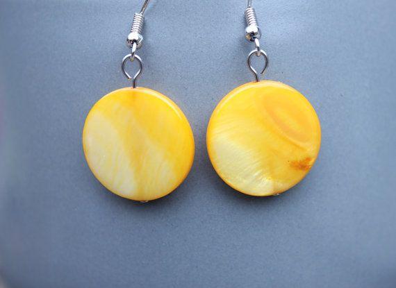 Surgical Steel Earrings Shell Earrings  Yellow by HutchinsStudio