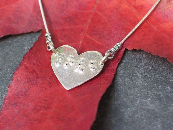 Love in Braille on Heart Charm Necklace
