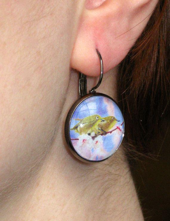 Japanese White Eyes  Medium Earrings by CatStudiosArt on Etsy, $12.00