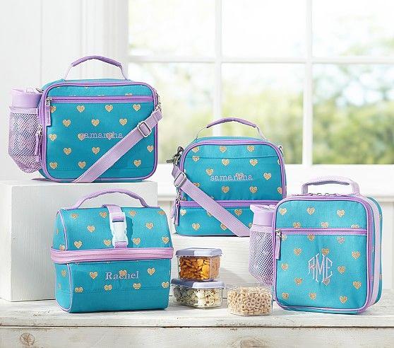 Mackenzie Teal Glitter Heart Lunch Bags Pottery Barn