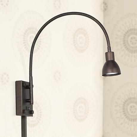 LED Bronze Gooseneck Plug-In Swing Arm Wall Lamp | Swing arm wall ...