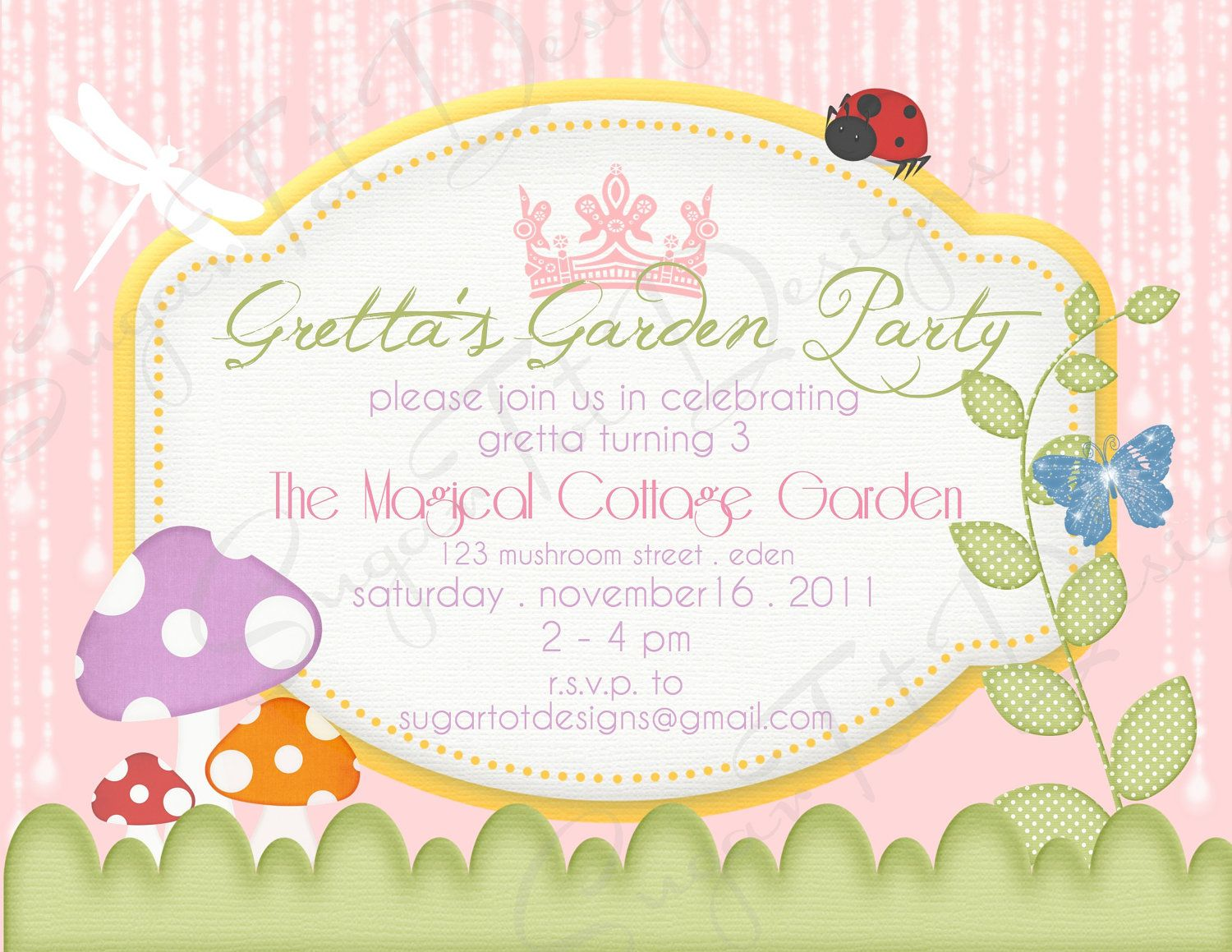 Magical Garden Party Invitation Garden Birthday Invitation Fairy
