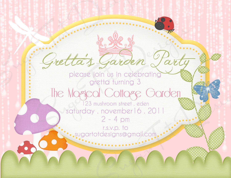 Magical Garden Party Invitation Garden Birthday Invitation Fairy