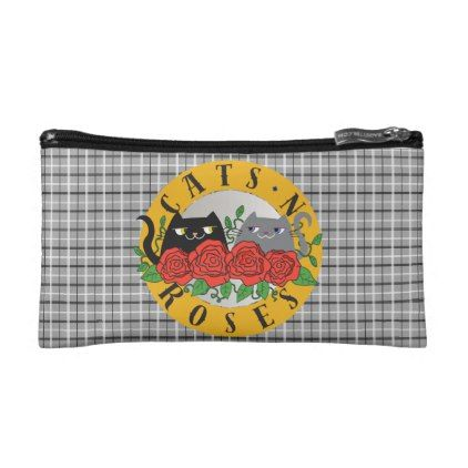 Cats 'N Roses Rock Music Cute Cartoon Cool Tartan Makeup Bag - floral style flower flowers stylish diy personalize