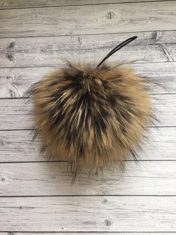 8d289161a3799 Raccon Pom Pom Real Raccoon Fur Beanies 8 Inch Pompom Real