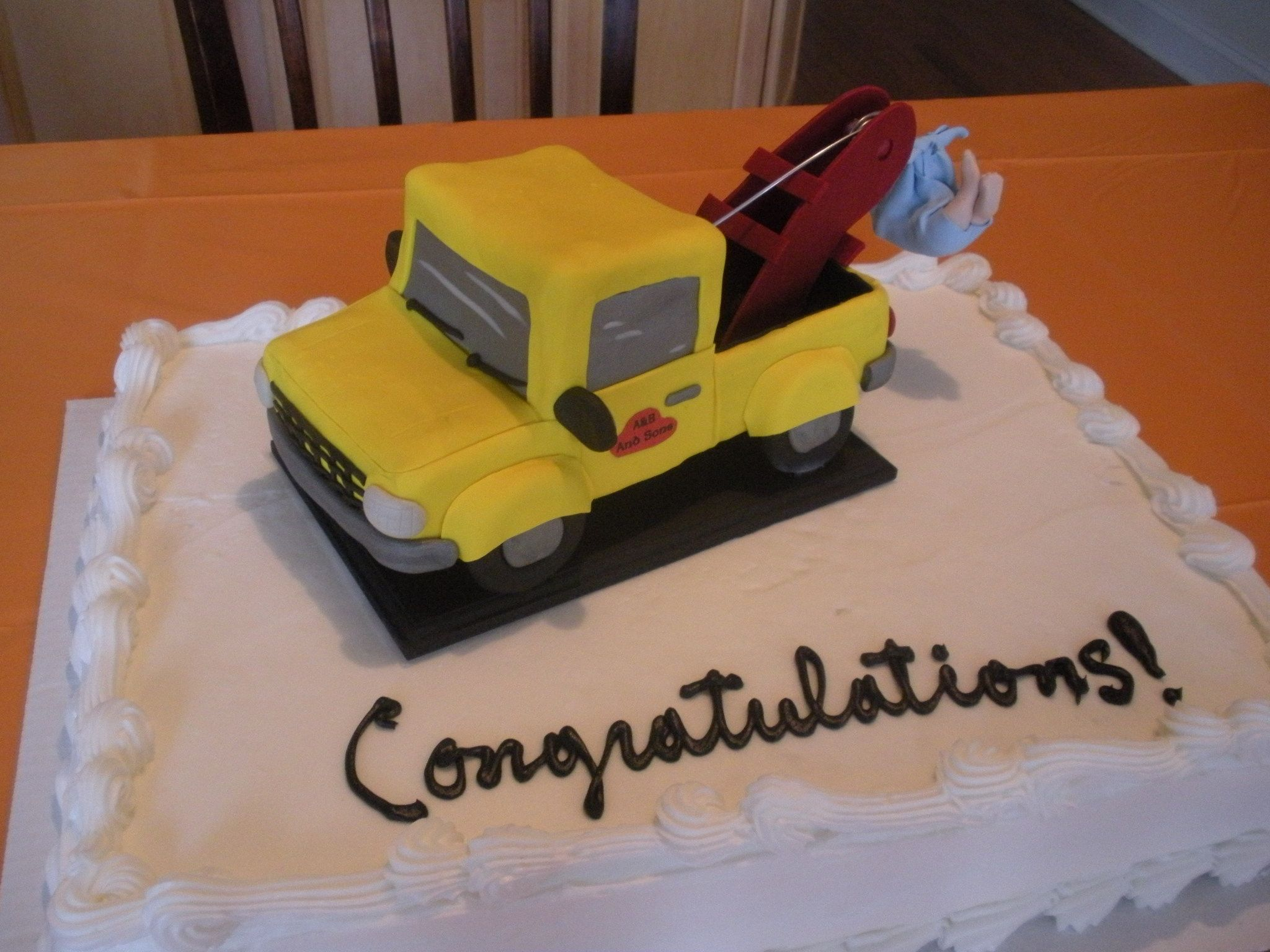 Baby Boy Shower Cake Topper Tow Truck With Baby In Tow