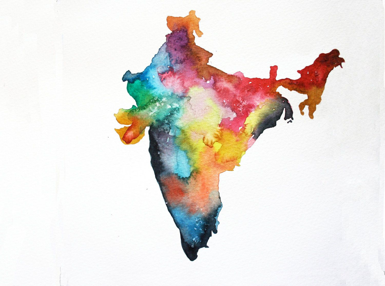 India Map Print 5 X 7 Watercolor Painting Colorful Watercolor