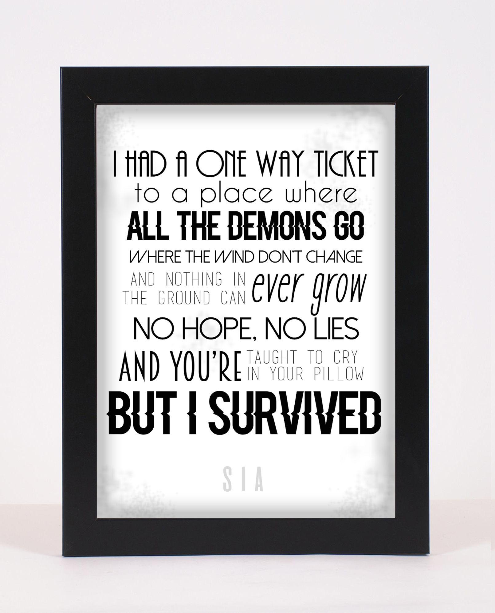 Sia Alive Pop And Indie Prints Typography Poster Print Alive Quotes Words Alive Lyrics
