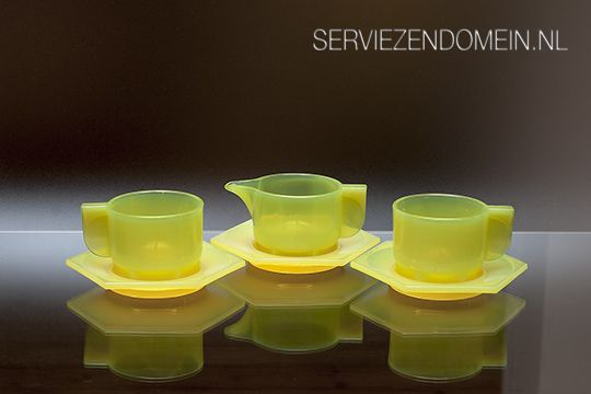Three parts of the famous glass breakfast set by Berlage and Zwart. Photo made for the webmagazine Serviezendomein.nl
