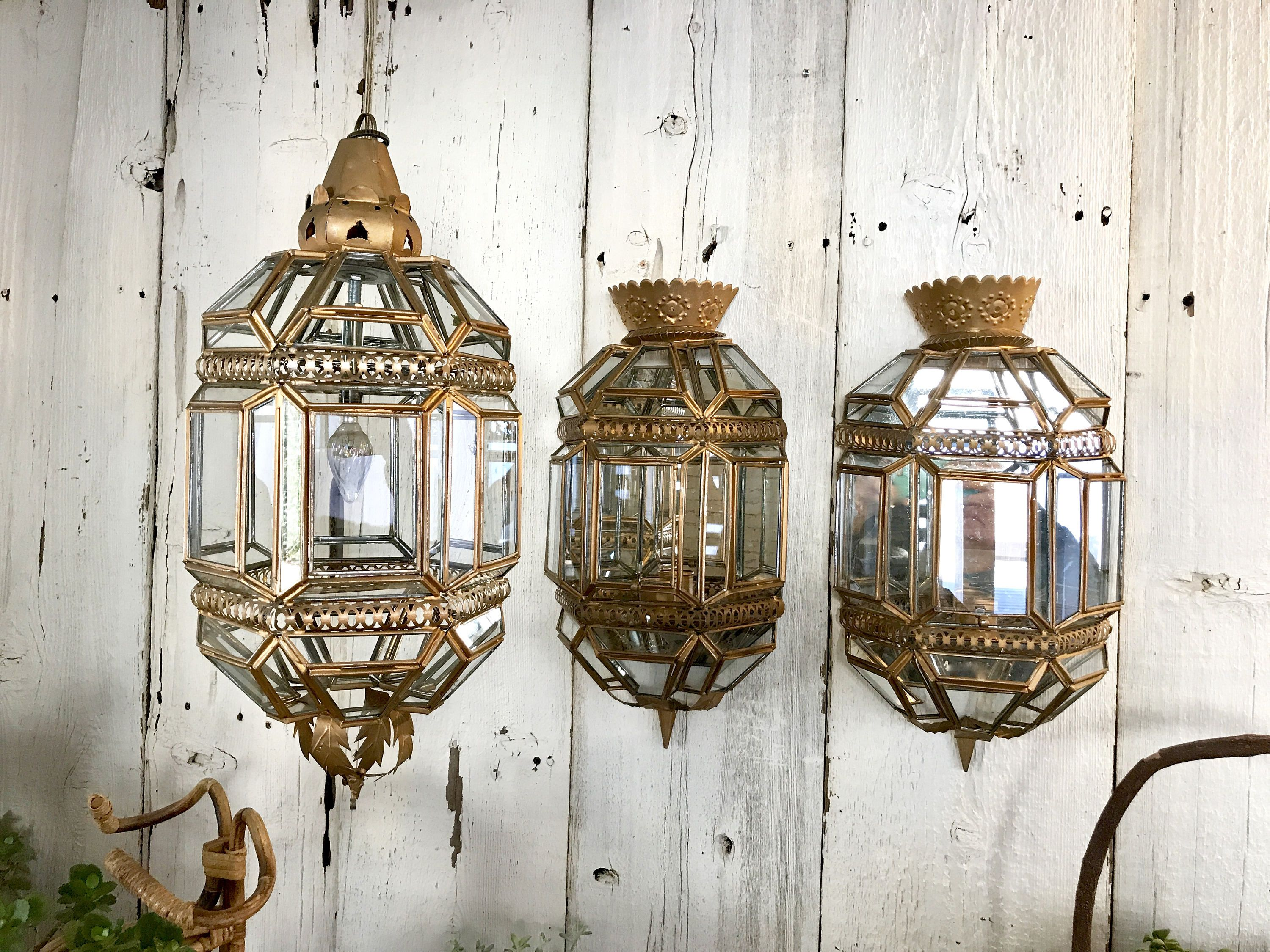 Vintage Andalusian Moorish Lantern And Wall Sconce Set Made In