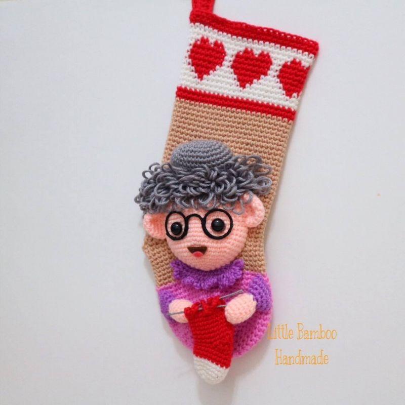 Personalised Grandma Christmas Stocking crochet pattern by Little ...