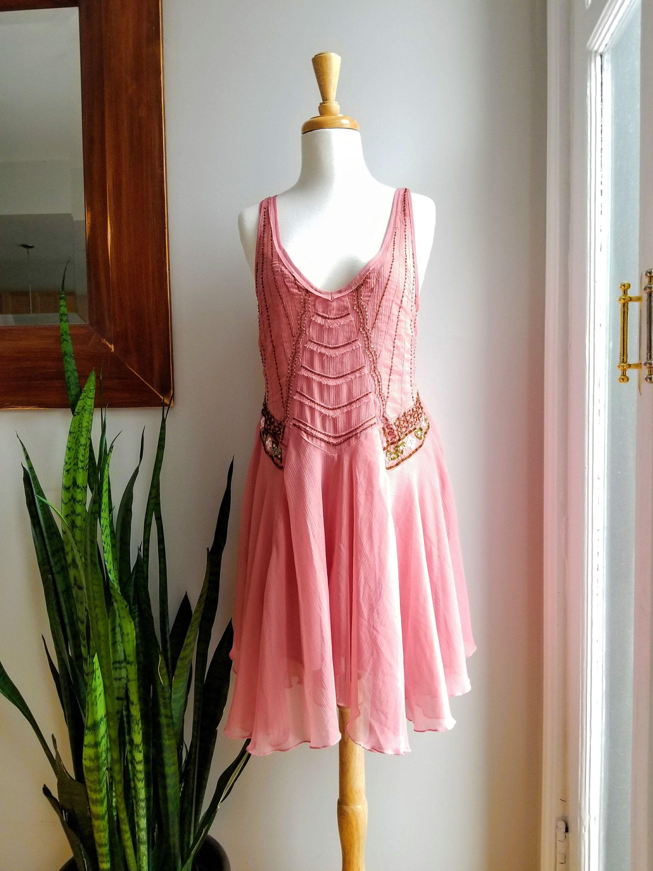 90s Rose Chiffon Swing Dress/90s Sheer Beaded Dress/Gypsy Wedding ...