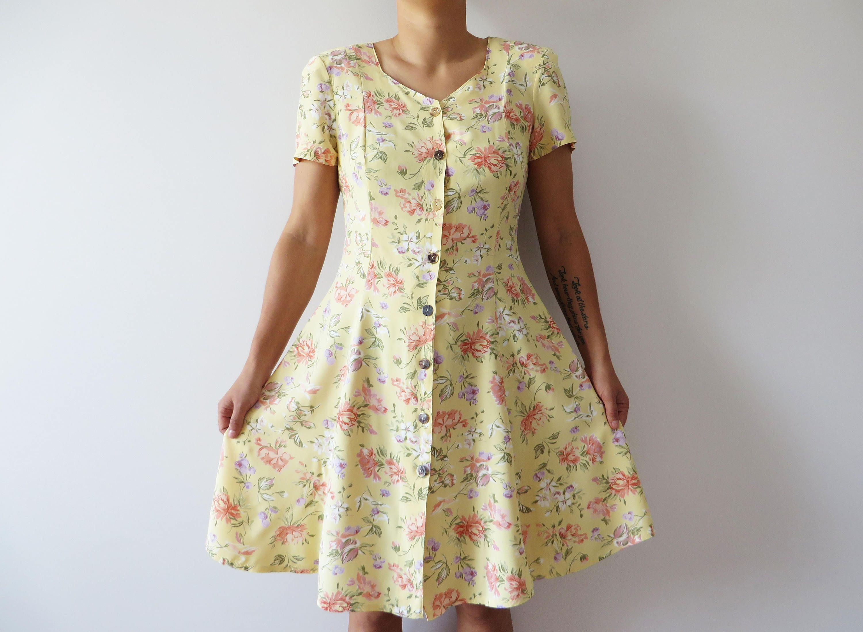 0164992cfb95 Vintage 80s Floral Summer Dress Button up Dress Beige Floral Dress Short  Sleeve Dress Mini Viscose Dress Summer Church Dress Medium to Large by ...