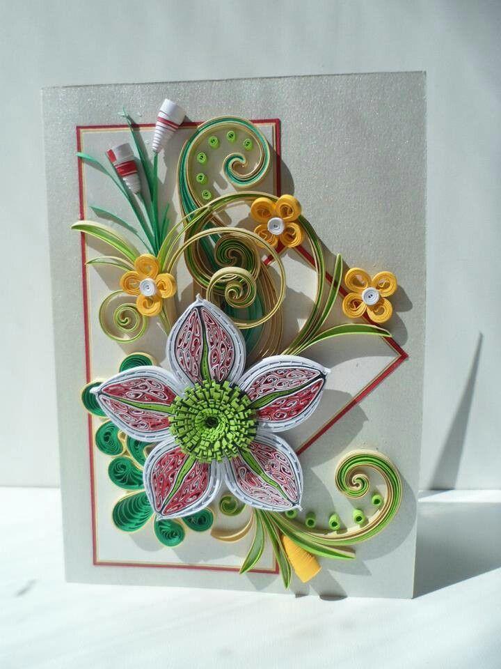 Quilled flower birthday card also cards pinterest quilling rh