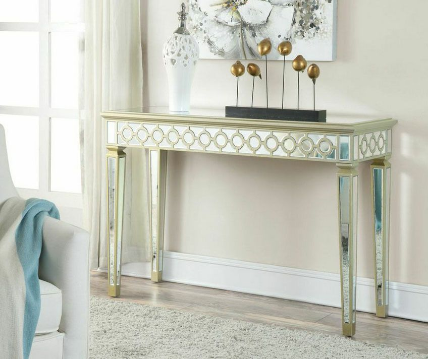 Xena Gold Mirrored Dressing Console Table Mirrored Sofa Table
