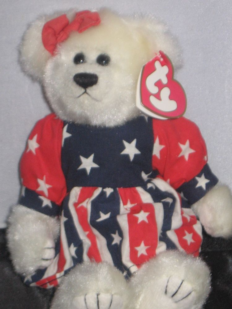 Today for your consideration I have a TY Beanie Babie Franny Bear. Red White  Blue dd01245519bf