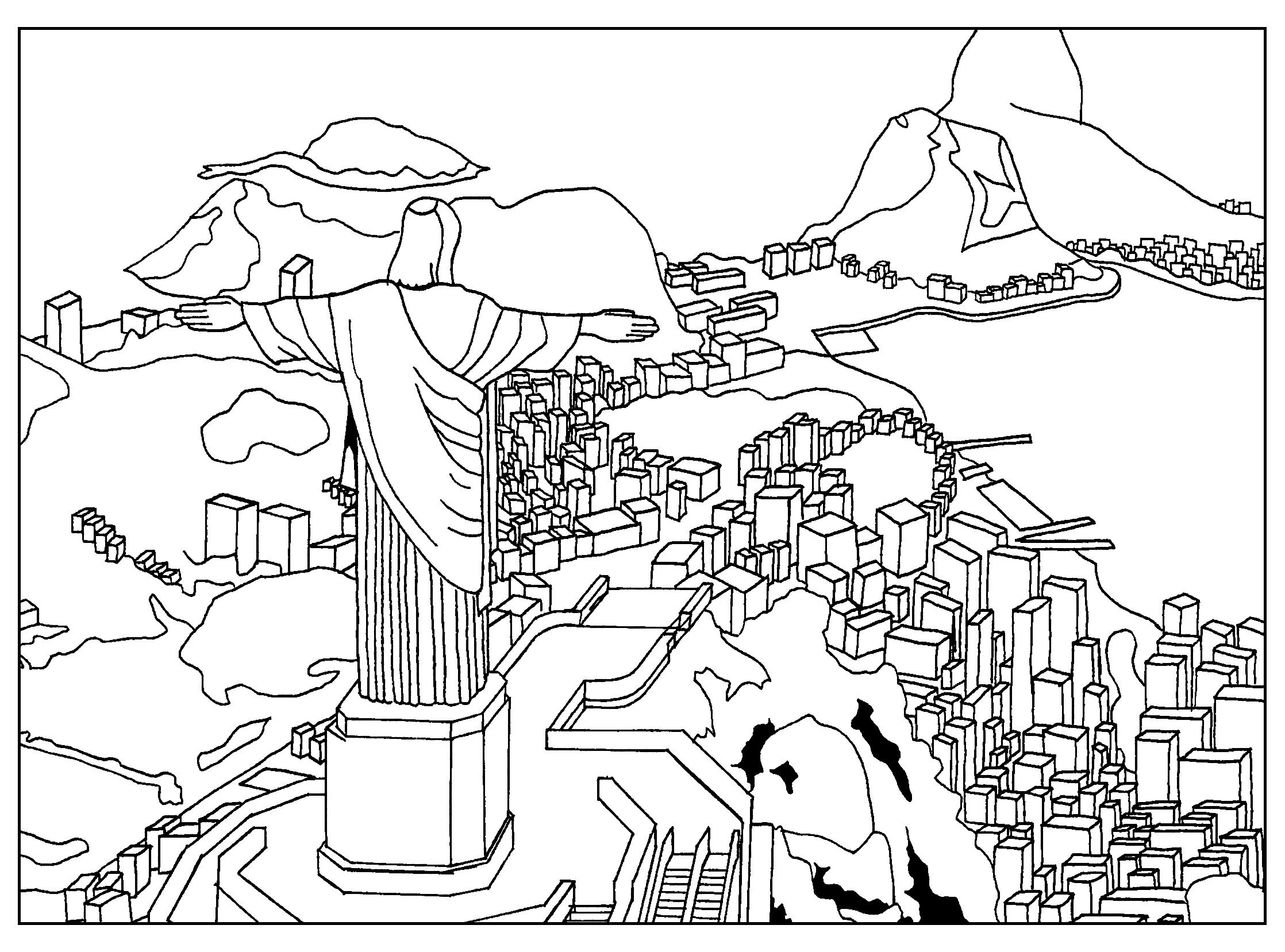 Free Coloring Page Coloring Adult Rio De Janeiro Through The Eyes