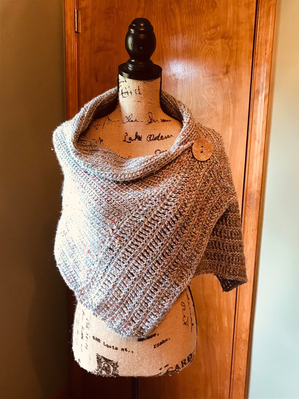 Handmade Crocheted Beige Tweed Cowl Neck Scarf
