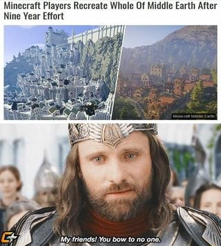 Minecraft Players Recreate Whole Of Middle Earth After Nine Year Effort Ifunny Middle Earth Hobbit Memes Lord Of The Rings