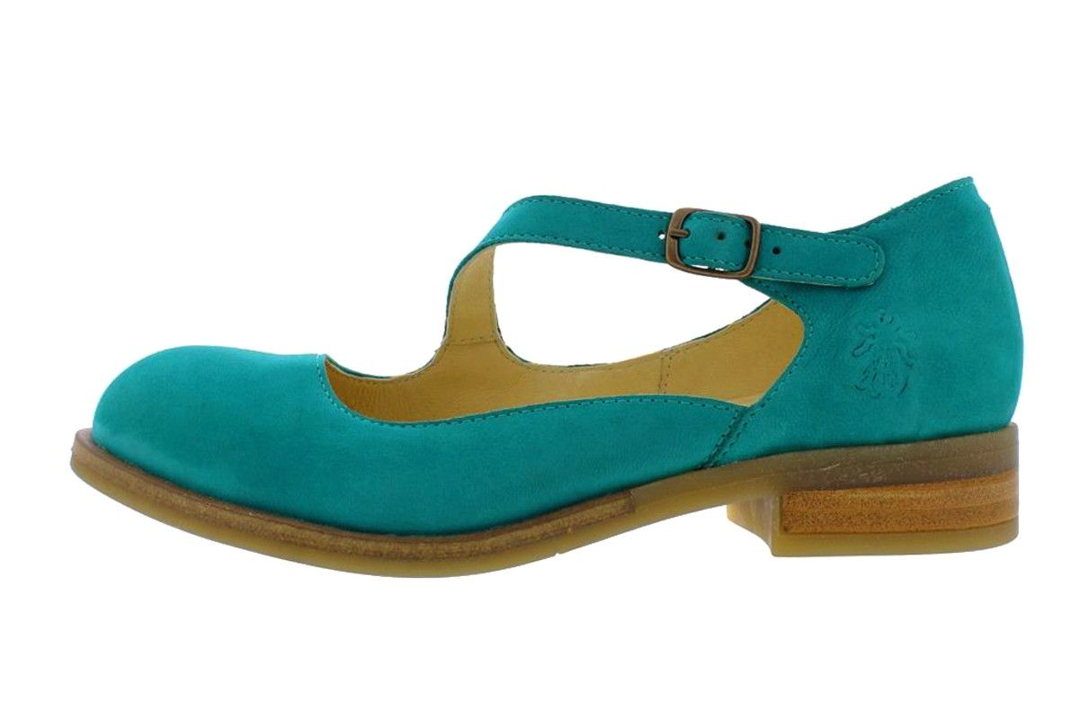 977030a6f8 Fly London Alky Verdigris Teal Leather Asymmetric Strap Low Heel Shoes