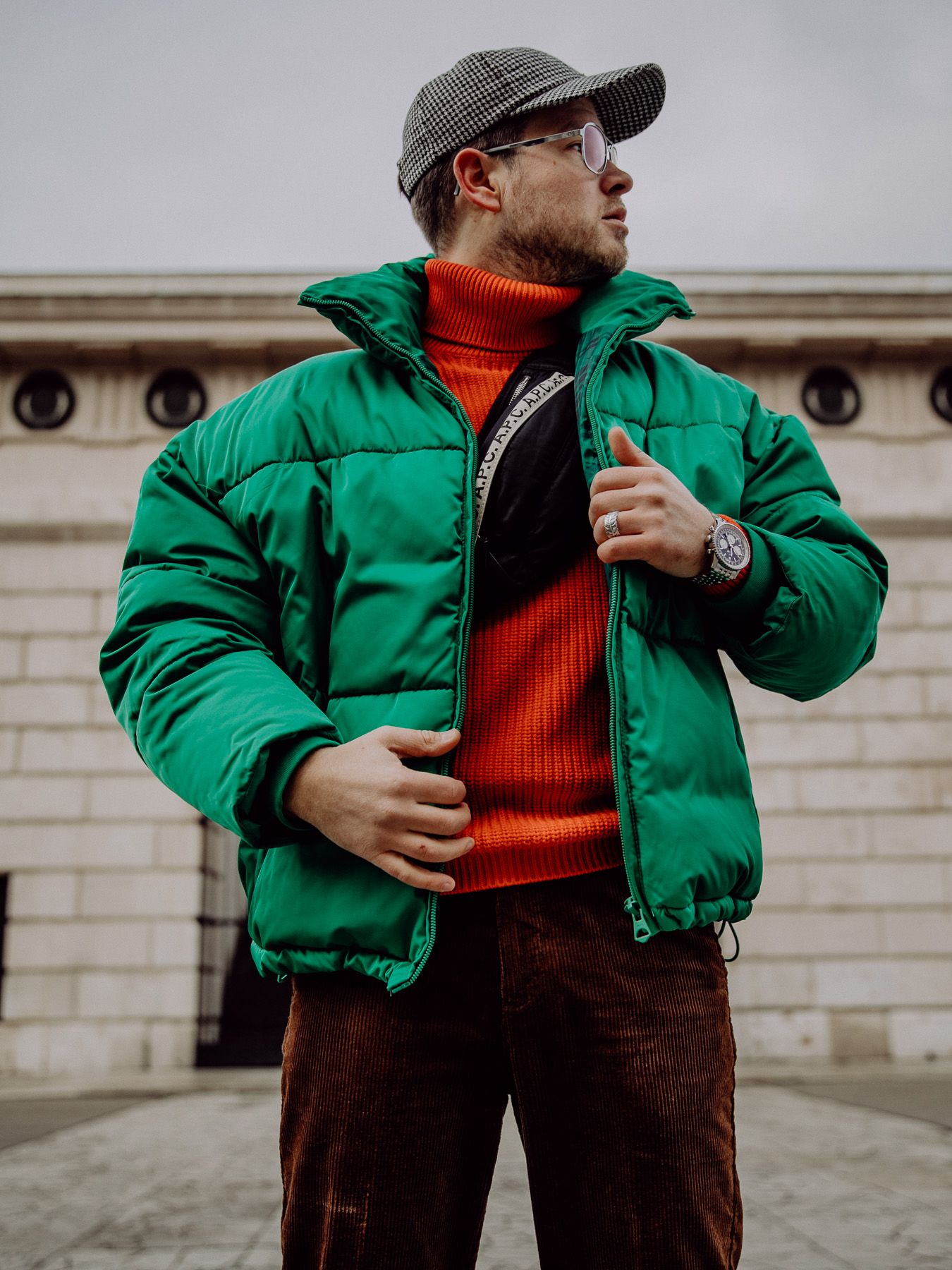 Winter Outfits For Men Oversized Puffer Jacket And Corduroy Pants Meanwhileinawesometown Green Jac Winter Outfits Men Mens Outfits Sweater Jacket Outfits [ 1800 x 1350 Pixel ]