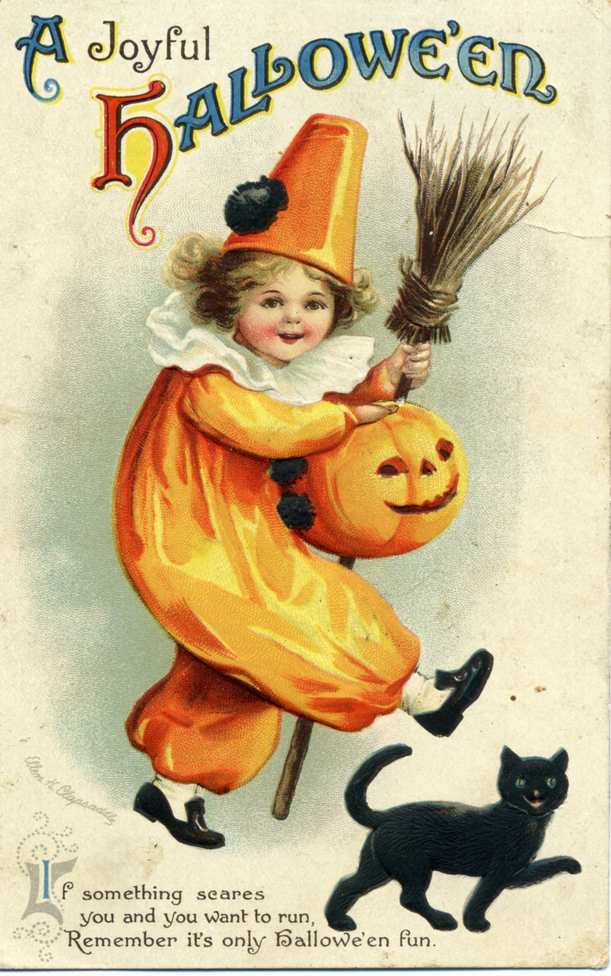 Floor Vintage Halloween Postcard Black Cats A Joyful Vintage Halloweenpostcard Vintage Halloween Card You Can Often Find S Costumes On Med Postcards